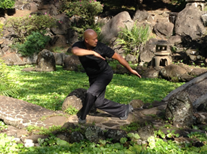 Professor Tayam in a Bagua pose